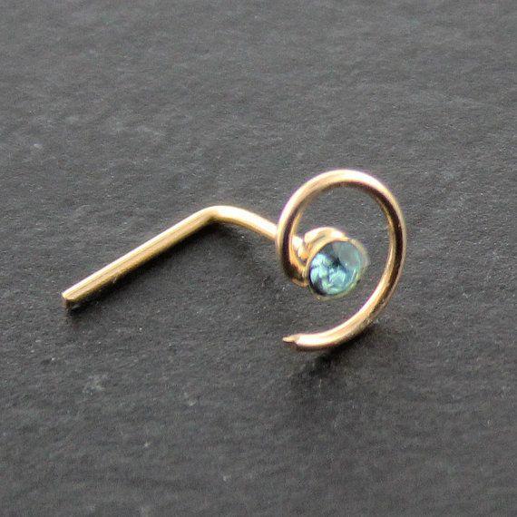 9KT Solid Yellow Gold Spiral Aquamarine Gemstone 22G L Bend L Shape Nose Stud Nose Ring Nostril Nose Piercing Jewelry