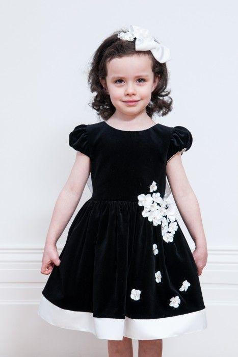 Monochrome Floral Trimmed Velvet Gown