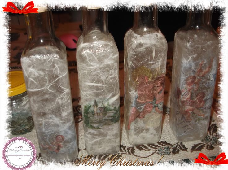 bottigliette ricoperte carta riso varia angeli e paesaggi di natale