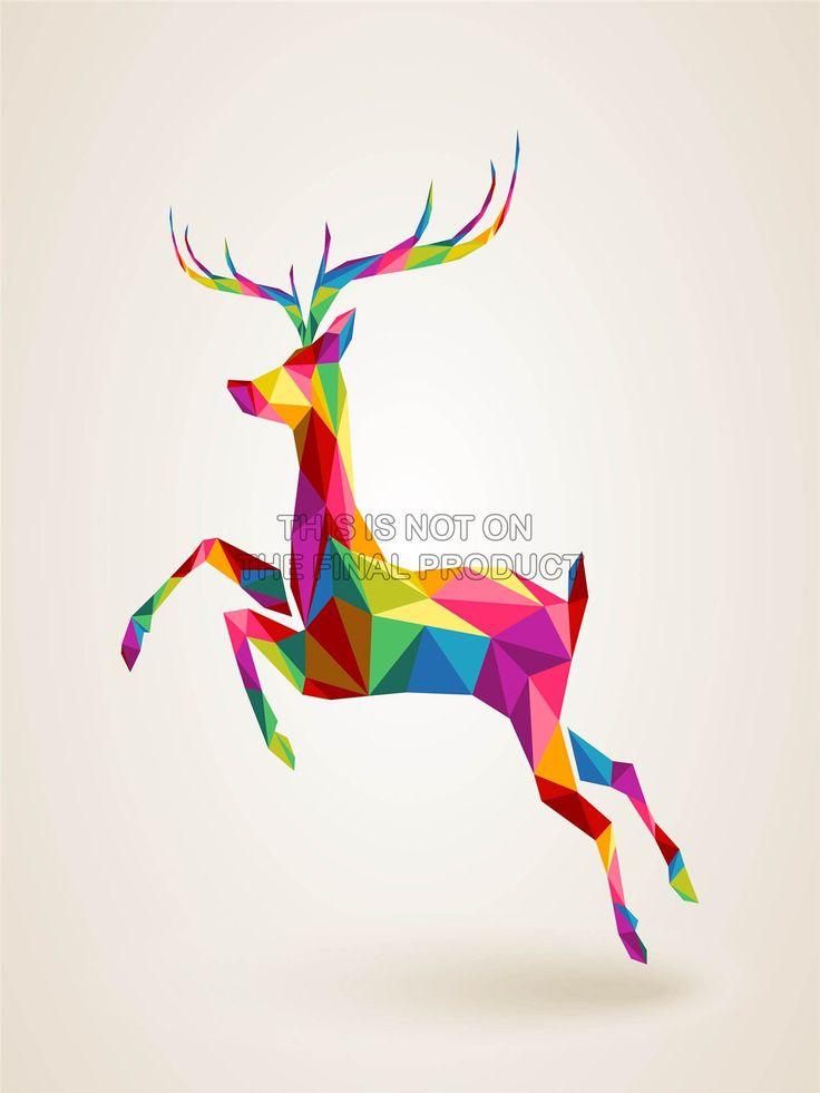 Painting Illustration Running Leaping Deer Polygon ART Print Poster MP3175B | eBay