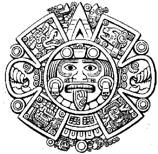 El Calendario Aztecao Piedra del Sol se basa en el disco monolítico de basalto de olivino que hace referencia a la comogonía mejicana y cultos solares y e