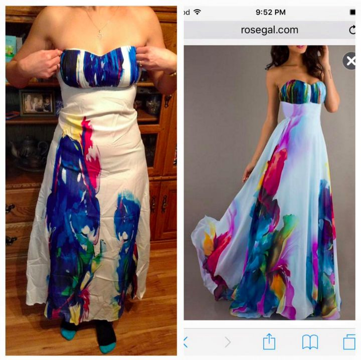 "A woman who bought the dress from RoseGal posted what she received in the Facebook group ""Knock Off Nightmares"""