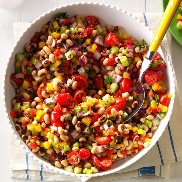 Vibrant Black-Eyed Pea Salad Recipe -My black-eyed pea salad reminds me of a Southern cooking class my husband and I took while visiting Savannah, Georgia. People go nuts for it at picnics and potlucks. —Danielle Ulam, Hookstown, Pennsylvania