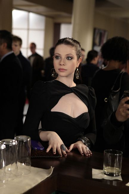 Georgina Sparks - Carven long sleeved draped cut-out dress + Double Happiness Frieda earrings +Theodora & Callum Diane Clutch