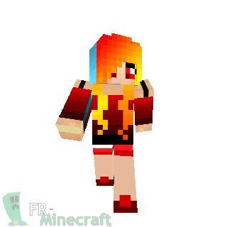 Minecraft : Skin Minecraft : Fille en bleu et rouge