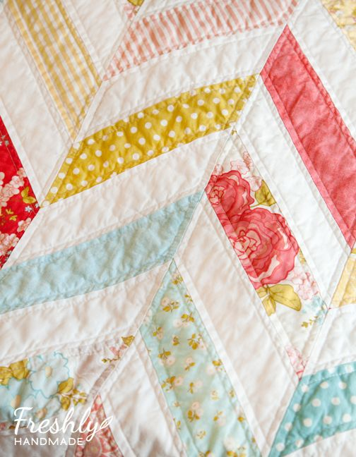 Freshly Handmade: Marguerite Herringbone Quilt: Finished