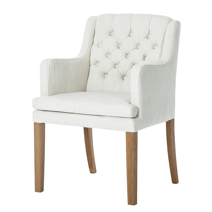Armlehnstuhl Austin - Webstoff Weiß