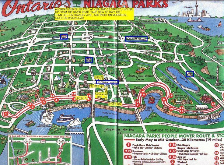 Map of Niagara Falls Ontario   Niagara Falls Canada Hotels