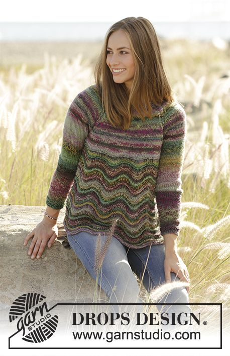 Spring Forest jumper with wave pattern and raglan by DROPS Design  Free Knitting Pattern