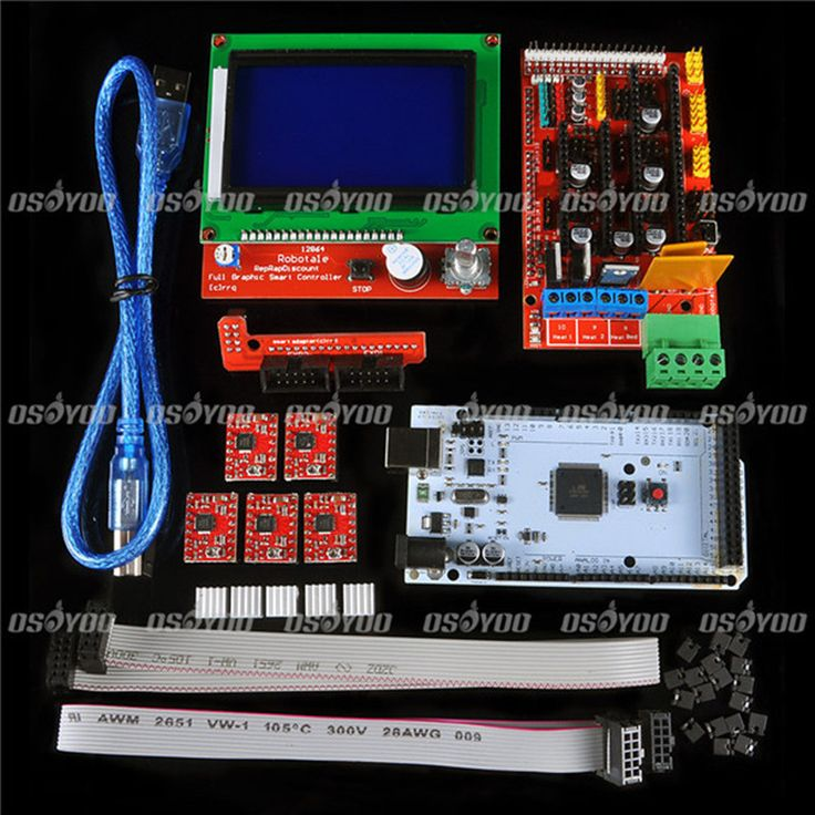 Aliexpress.com : Buy  3D Printer Kit for Arduino Mega 2560 R3 + RAMPS 1.4 Controller + LCD 12864  + 5 A4988 Stepper Driver from Reliable 3d printers for sale suppliers on Soonics Co., Ltd