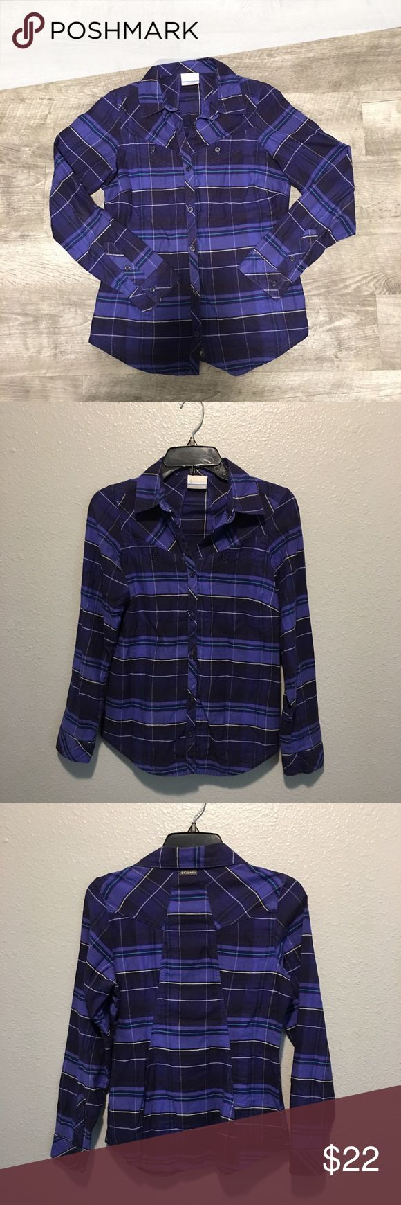 Columbia Button Front Flannel Sz xs Columbia Button Front Flannel Sz xs with normal wear Columbia Tops