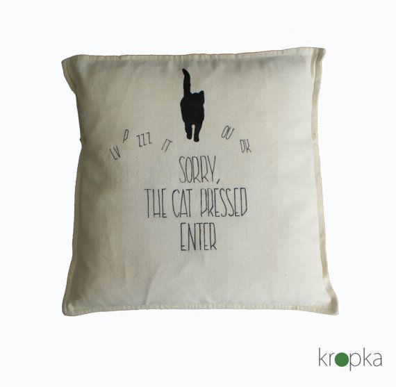 Decorative Cat pillow case eco friendly throw by KropkaDesign #pillow #cat #catpillows #funny #funnypillow #scandinavian #decoration