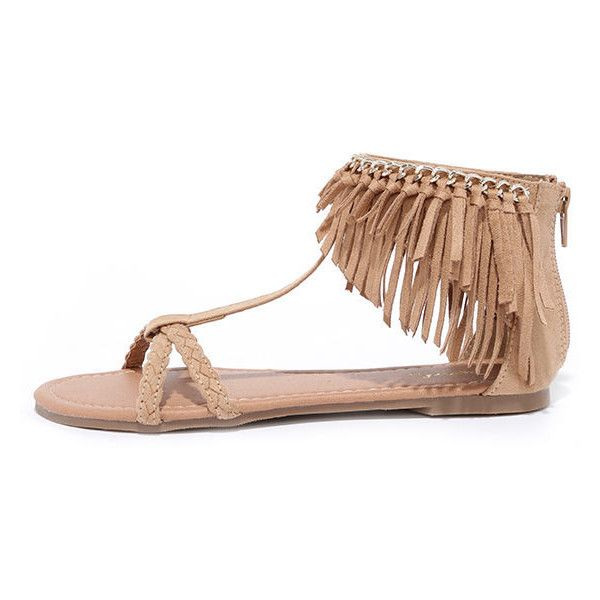 Good Vibes Toffee Brown Suede Flat Fringe Sandals ($25) ❤ liked on Polyvore featuring shoes, sandals, beige, brown suede sandals, suede shoes, braided sandals, qupid sandals et ankle cuff sandals