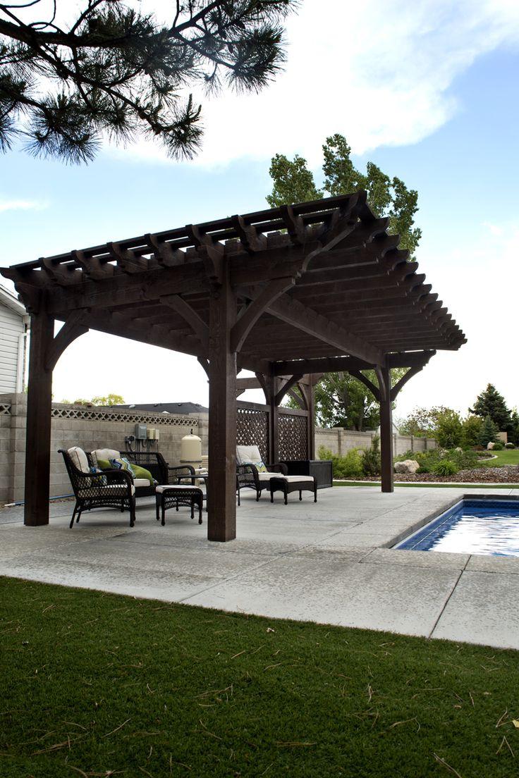 Impressive Poolside Pergola, Cantilever Roof, Trellises