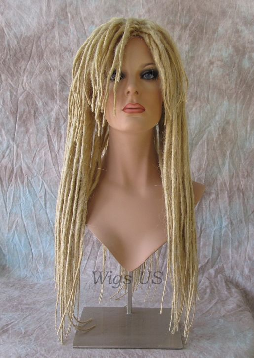 DREADS Wig Golden Blonde Dreadlock Bangs Goth RASTA Reggae Style Cosplay Wigs US #Adora #FullWig