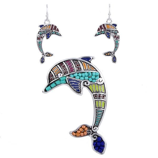 Stunning Silver Plated Dolphin Beaded Jewelry Set