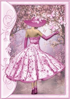 1950 s Lady in Pink Catching Butterflies A4 Card Front on Craftsuprint designed by Sue Way - This A4 card front can be used to make a picture to hang on the wall or to make a large card. A pretty lady in a 1950's style dress, with a flared skirt