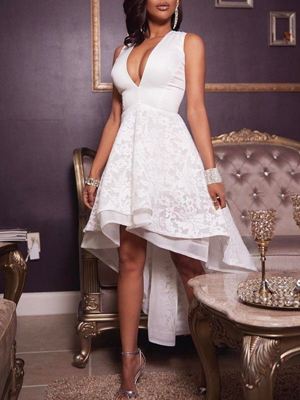 bb0e46f564 V Neck Pleated Lace Irregular Dress in 2018