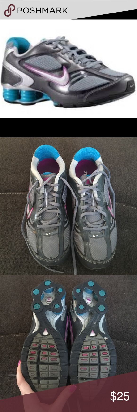 Women's Nike Shock reveal 4 size 9 Women's Nike Shock reveal 4 size 9 in pretty good condition with some minor flaws. Can take more pics on request! They are grey with purple and turquoise accents. Nike Shoes Sneakers