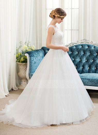 Balklänning Rund-urringning Sweep släp Organzapåse Spetsar Bröllopsklänning med Pärlbrodering Paljetter (002054362) - JenJenHouse