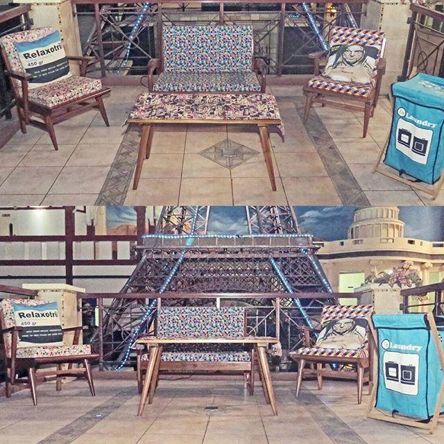 "THE SETTINGS  Three Mid Century Arm Chair One ""Sedan""  CHAIR ( Two Seater) ONE mid century Coffee Table TWO PRINTED cushions  ONE PRINTED TABLE RUNNER ONE CANVAS LAUNDRY HAMPER  #midcenturymodern #midcenturymodernfurniture #popart  #geometricpattern #designinterior #interiordesign #vintagefurniture #retrofurniture #jualfurniture #vintagedecor #homedecor #kursijengki #teakwood #upholstered #restoration #moblerprojekt #local #indo #bandung"