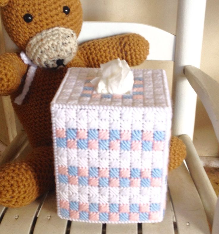 A personal favorite from my Etsy shop https://www.etsy.com/listing/489020524/pink-blue-white-tissue-box-cover
