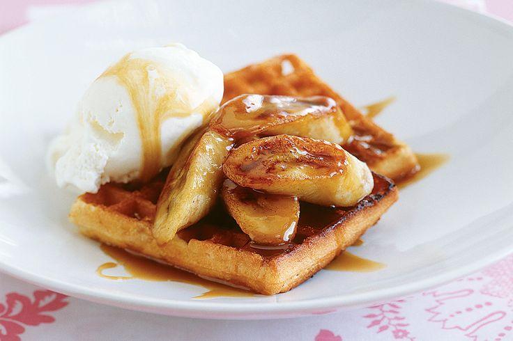 Waffles With Banana & Rum Caramel Sauce Recipe - Taste.com.au