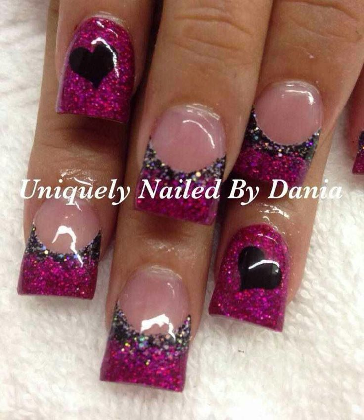 Purple glitter hearts