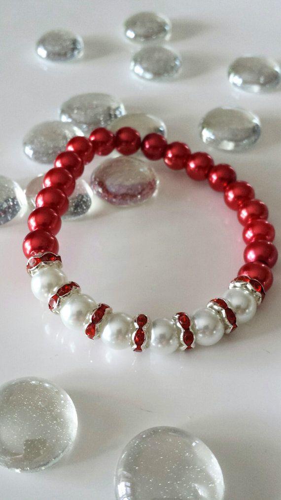 Bracelets For Women, Handmade Bracelets, Beaded Bracelets,Red and White,Gifts,Birthday Gift, Gift for Her,Stretchy Bracelet, Bracelet Beads