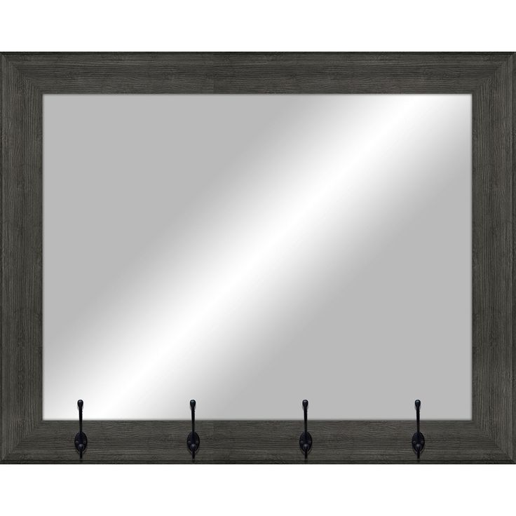 26-in x 22-in Gray Wood Polished Rectangle Framed Transitional Wall Mirror