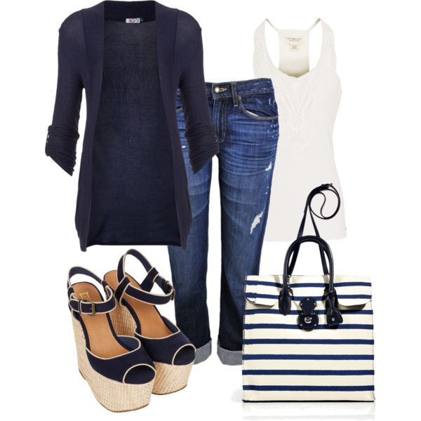 I would kill myself in those shoes but LOVE the outfit!  That bag! Yum. Cute wedges. Navy is so hip and classic.