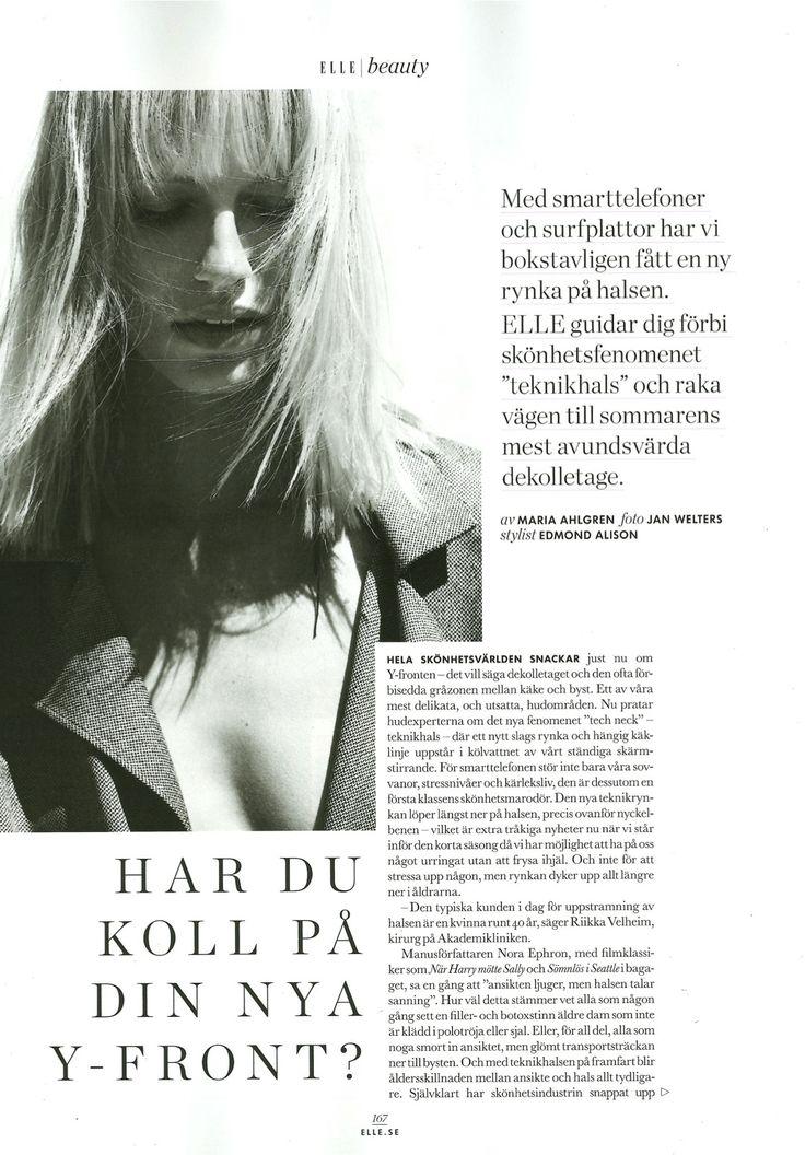 Plastiikkakirurgimme Riikka Veltheim Ruotsin Elle-lehdessä.