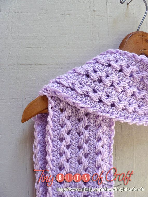 Knitting Hairpin Lace Pattern : Handmade lavender scarf, lavender crocheted scarf, lilac stole, purple gift s...