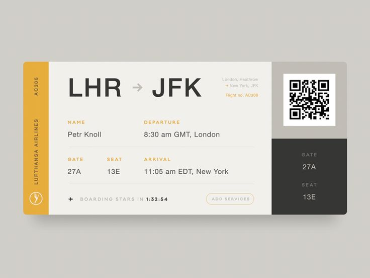 Boarding Pass - Daily UI #003 by Petr Knoll - Dribbble