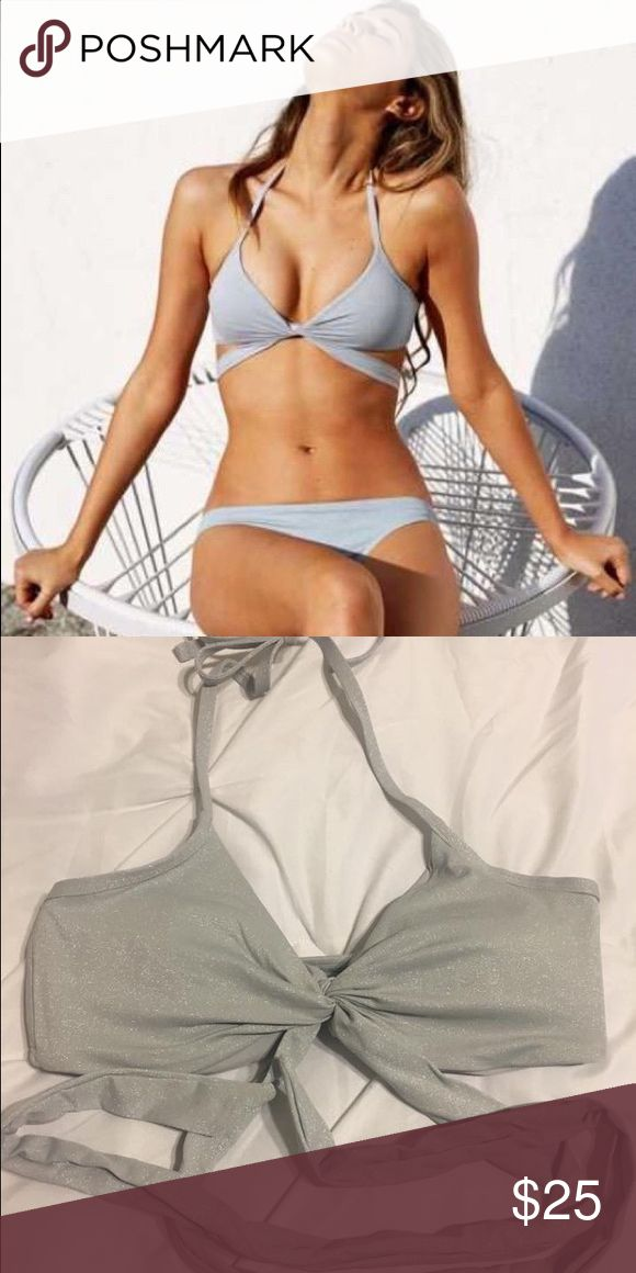 Aerie Silver bikini top Size Medium never worn. Bought it from Arie last year American Eagle Outfitters Swim Bikinis