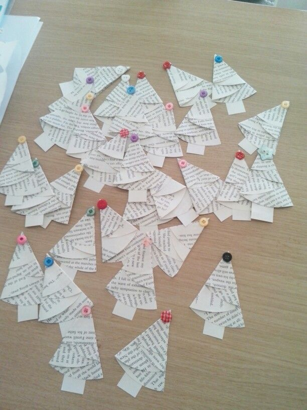 Christmas 2013: tiny trees with book pages.