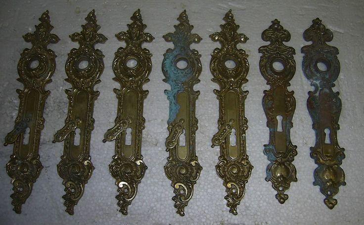alte Türbeschläge, 7 Stück, Messing, Schloßblende, Rosette, Schlossbeschlag Tür