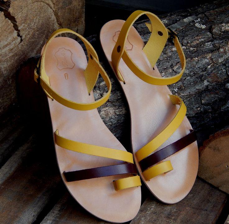 Handmade leather sandal ARTEMIS ..... brihgt yellow with dark brown details .....