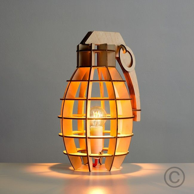 Decorative Hand Grenade Style Wooden Table Lamp