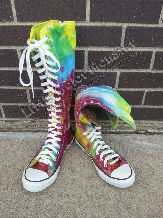 Rainbow Tie Dye Converse Knee High MADE TO ORDER