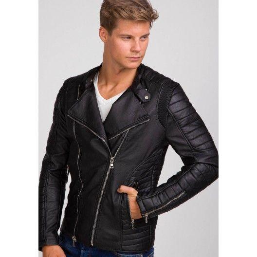 Motorkárska pánska kožená bunda bez kapucne čiernej farby - fashionday.eu