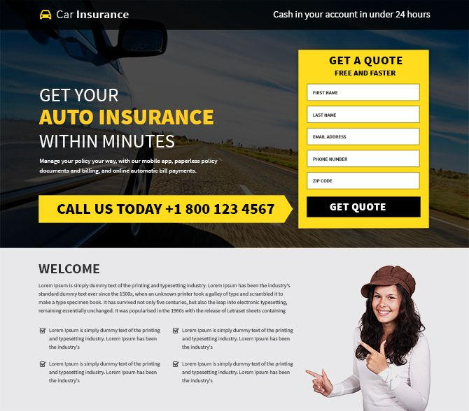 Mobile friendly and professional car insurance landing page design added to Buylandingpagesdesign.com Create your professional and converting car insurance website template design to promote your car insurance business online and capture quality leads. Responsive car insurance website designs are best for capturing maximum leads through different devices like smartphone, tablet, laptop as well as desktop.
