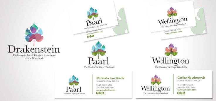 Logos and Corporate Identity design for Drakenstein / Paarl / Wellington Toursim