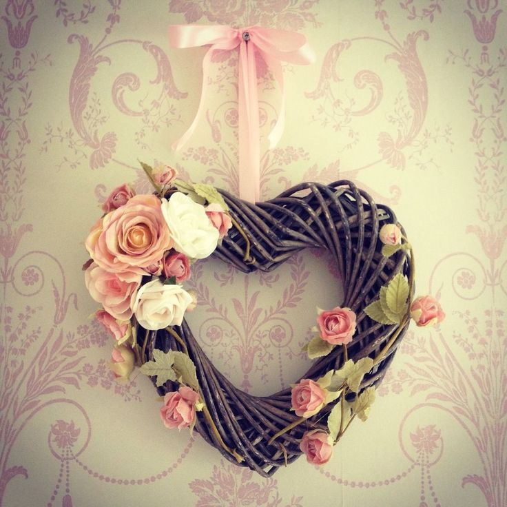 Handmade Wicker Heart Shaped Wreath With Flower Detailing Shabby Chic Vintage
