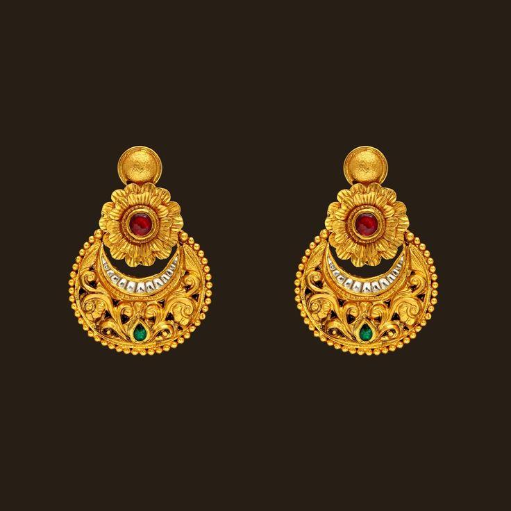 Gold Earrings (108A45043) | Vummidi Bangaru Jewellers