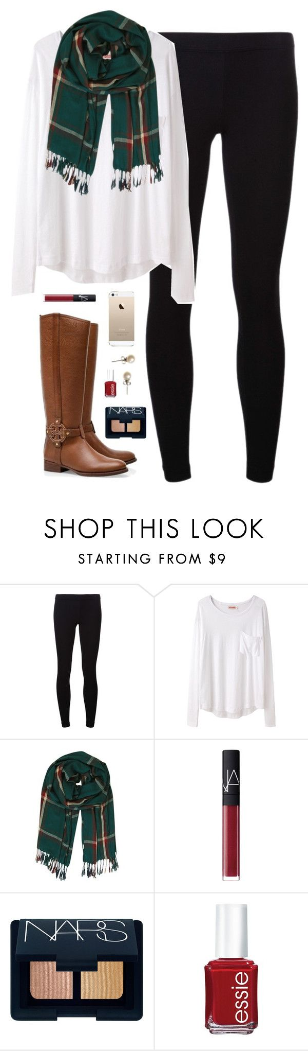"""""""sleepy & cold"""" by classically-preppy ❤ liked on Polyvore featuring James Perse, Organic by John Patrick, Humble Chic, Tory Burch, NARS Cosmetics, Essie and J.Crew"""