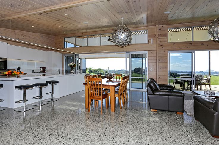 The polished concrete floor really compliments the timber interior