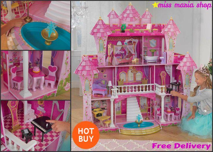 Large Doll House 21Pc Furniture Acessories Castle 5ftX5ft Princess Barbie Kids