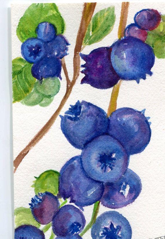 Blueberries Watercolors Painting Original Art 5 X 7 Fruit Watercolor Original Watercolor Painting Of Blueberries Kitchen Decor