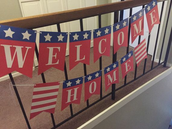 This banner was made with a military coming home party in mind. This banner is large. Welcome is 4feet in length and 10 in hight. Home is 3feet in